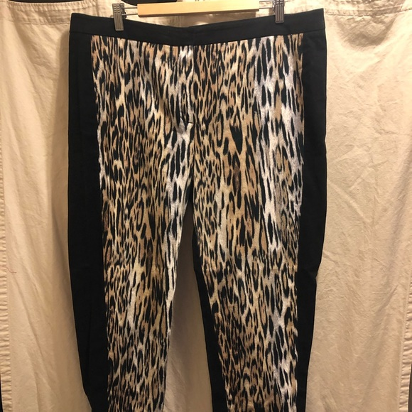 Leopard print front panel skinny dress pants